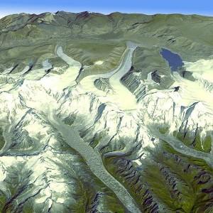 A Nasa e o governo japonês divulgaram esta semana o mais completo mapa topográfico da Terra em 3D. Nesta imagem, geleiras na cordilheira do Himalaia, no Butão