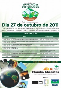 Seminário debater sobre edificações sustentáveis, recursos hídricos e sistema de etiquetagem