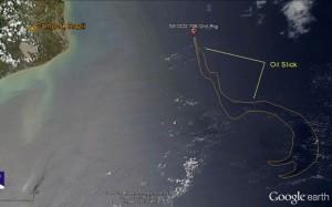 Imagem tirada em 14 de novembro pelo satélite MODIS/Aqua mostra a mancha de óleo na Bacia de Campos