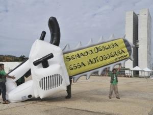 """Greenpeace faz protesto contra Código Florestal em Brasília - Na faixa: """"Senado, desliga essa motossera"""""""