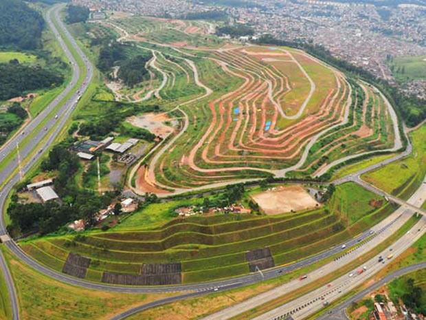 Imagem aérea do aterro dos Bandeirantes, em São Paulo, considerado um dos maiores da América Latina. (Foto: Divulgação/Loga)