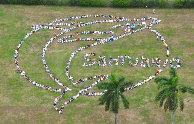 No Panamá, centenas de ativistas foram uma figura humana para prostestar contra a votação que derrubou a criação de um santuário de baleias no Atlântico Sul. Foto: divulgação