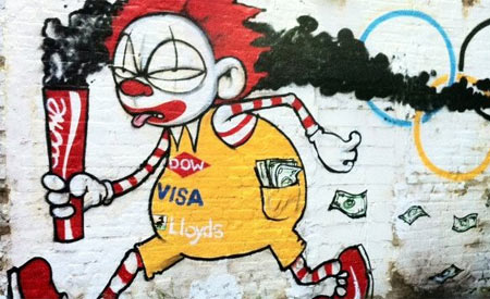 Grafite ironiza patrocinadores das Olimpíadas Foto/Artista: Mau-mau