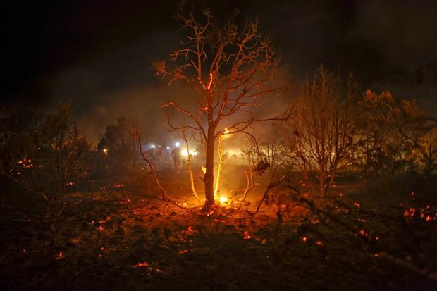Bombeiros tentam combater fogo em área devastada perto de Guadalajara, na Espanha (Foto: Pedro Armestre / AFP)