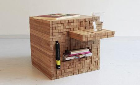 Ao mover as tabelas de bambu, surgem espaços que podem servir como prateleiras Fotos: Divulgação