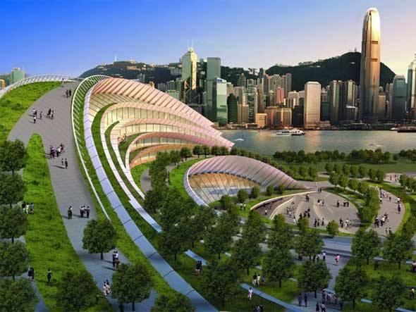 Em construção em Hong Kong, terminal subterrâneo de alta velocidade contará com ampla área verde e janelas que permitem a passagem da luz natural