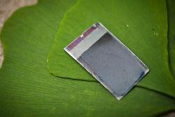 A folha artificial é feita essencialmente a partir de uma célula solar de silício, que possui diferentes materiais catalíticos ligados a ela. | Foto: Divulgação