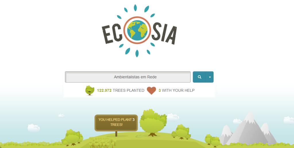 Página inicial do buscador Ecosia