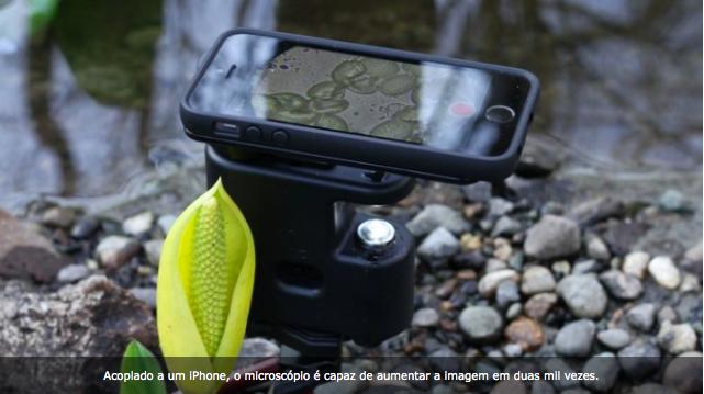 Gadget transforma iPhone em um super microscópio